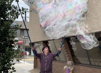 The Bubble Man put on a spontaneous bubble show at the brokerage.