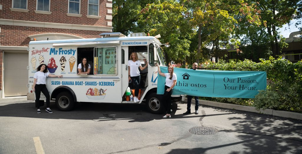 The Cynthia Ostos Real Estate Team hosted an ice cream truck event for past clients.