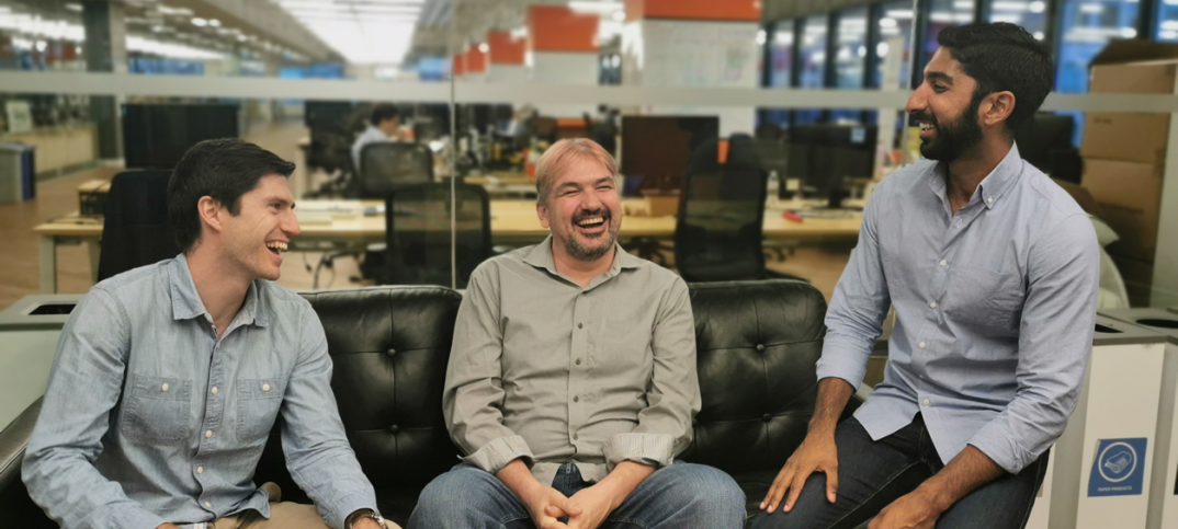 Properly's co-founders, from left: Sheldon McCormick, COO; Craig Dunk, CTO; and Anshul Ruparell, CEO.