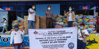 Members of Filcrea deliver food to be shipped to the Philippines.