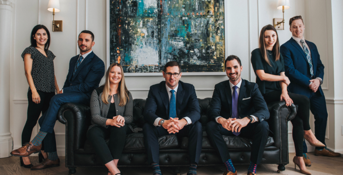 From left: Jaime Coyle, brokerage co-ordinator; Luke Slabczynski, associate; Mallory Weldon, senior associate; Mitchell Blaine, EVP; Chris Kotseff, VP; Alexandra Smith, brokerage co-rdinator; and Keith Schappert, associate.