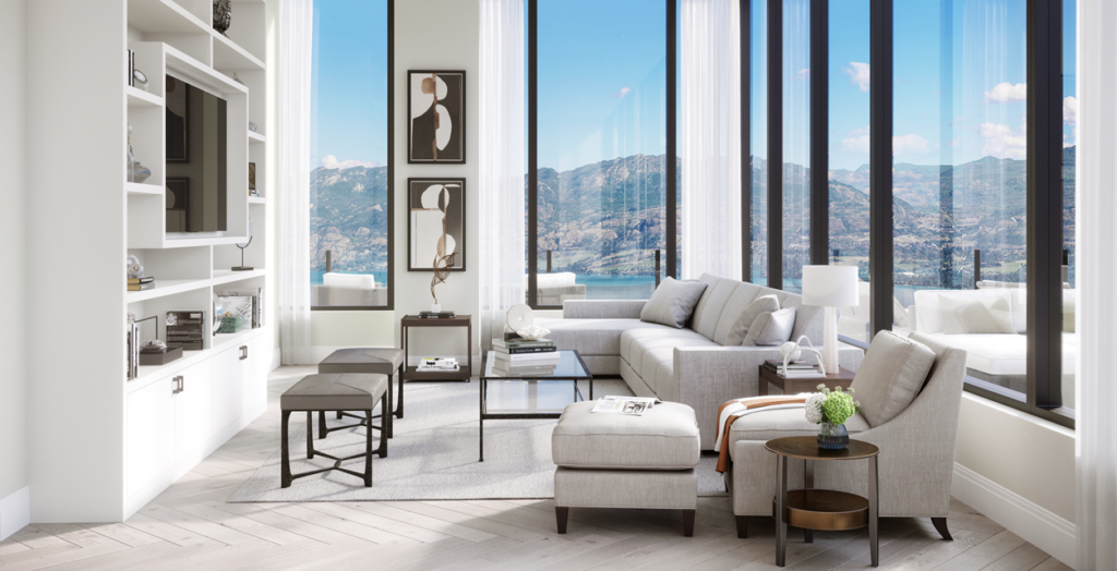 With floor-to-ceiling windows, the luxurious full-floor suite features 360-degree views of downtown Kelowna, Lake Okanagan and surrounding mountain ranges.