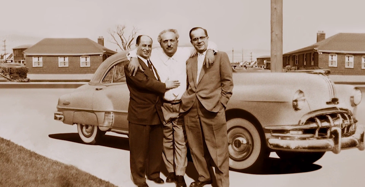 Lipa Green (centre) was the father of Al and Harold Green, who started Greenwin. Benny Lerman (left) from Milwaukee, and Lipa Wise (right) from Europe were both first cousins to Green. The photo was taken in 1955 in Toronto's North York.