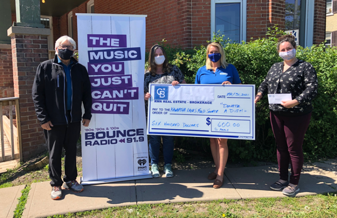 From left: Paul Orchard from Coldwell Banker RMR; Vanessa Murphy, radio host at Bounce FM; Kathryn Johnson of Coldwell Banker RMR; and Katie Dorotheou from the Kawartha Lakes Food Source.