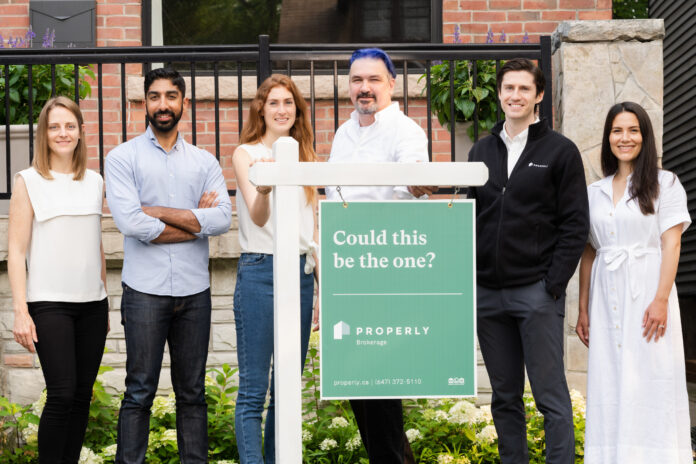 Properly's leadership team, from left: Lindsay Rutledge, VP of strategy; Anshul Ruparell, CEO and co-founder; Rhianna Brancato, director of finance; Craig Dunk, CTO and co-founder; Sheldon McCormick, COO and co-founder; and Jessica van Rooyen, VP of marketing.