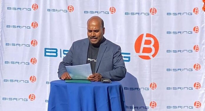 Akilan Theva at the official launch of the BisRing mobile app.