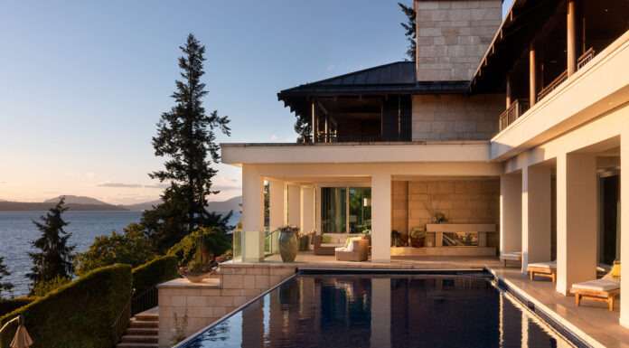 The home sits on five acres