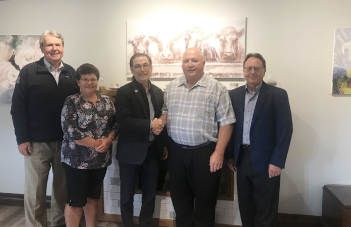From left: Andy Puthon, president of Coldwell Banker Canada; Kathy Angel, formerly with Coldwell Banker The Property Shoppe; Peter Benninger, owner and president of Coldwell Banker Peter Benninger Realty; Brad Angel, for owner of CBTPS who is now joining CBPBR in a sales capacity; and Peter Kritz, broker of record, CBPBR.