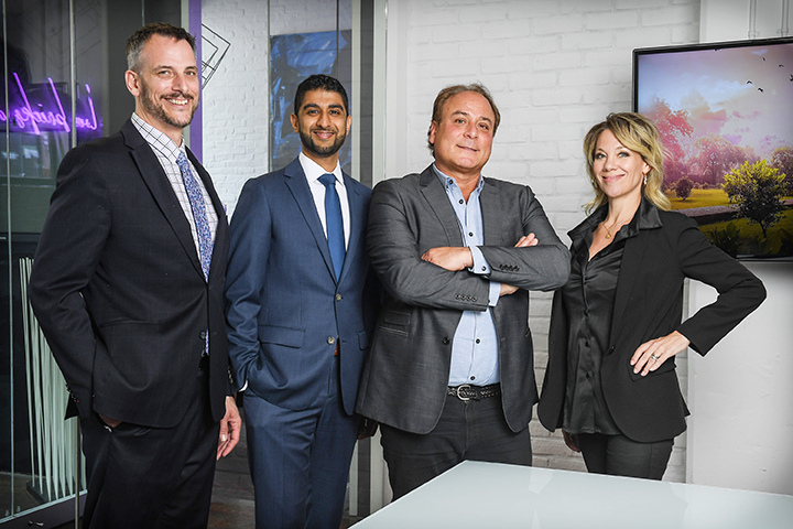 The TCS Marketing Systems team, from left: Glen Buttigieg (vice president of sales), Onkar Dhillion (vice president of operations), Mark Cohen (managing partner) and Serena Quaglia (vice president of strategy).