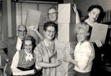 An image from the early 1960s of FVREB staff preparing MLS catalogues for distribution to brokerages and Realtors.